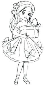 Девочка держит коробку с подарком