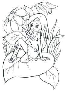девочка сидит на листике