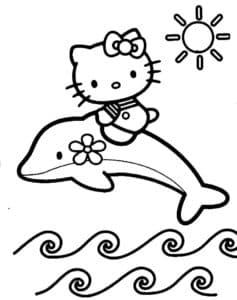 кот плывет на дельфине