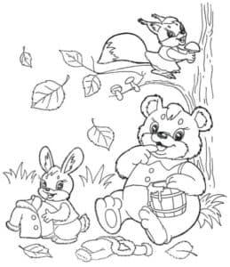 Зайчик белка и медведь