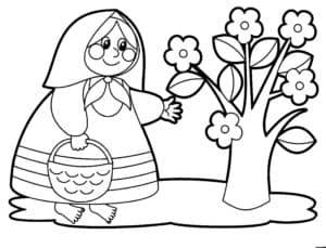 Бабушка и цветы