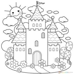 Замок раскраска детская