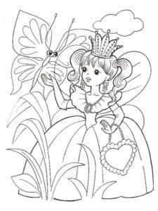 Девочка в короне с большой бабочкой