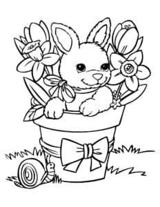 зайчик в горшке с цветами