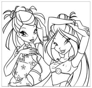 Две девочки раскраска