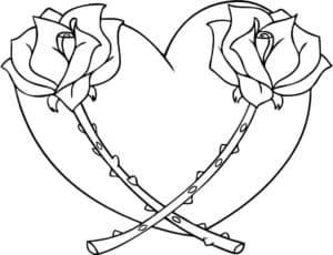 Две розы и сердечко