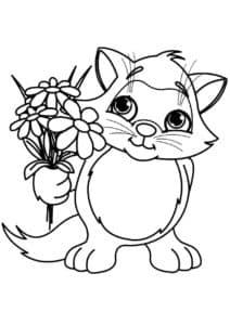 котик с букетом