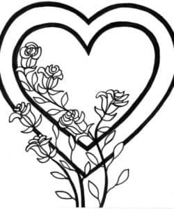Сердечко и розы раскраска детская