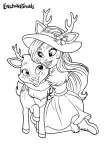 Девочка обнимает олененка
