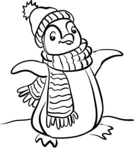 Пингвин в шапке и шарфе
