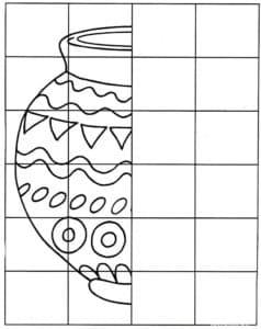 Дорисуй вазу по клеточкам