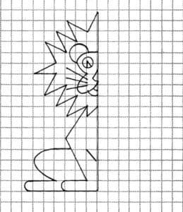 Дорисуй большого льва по клеточкам