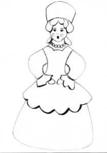 Дымковская барышня в платье