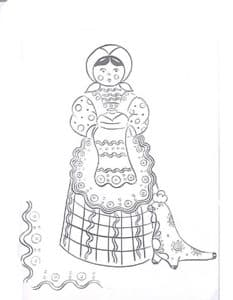 Дымковская барышня с полотенцем и узорами