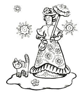Дымковская барышня и котенок
