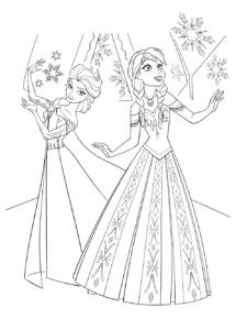 Эльза и Анна в платьях