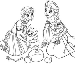 Эльза и Анна раскраска для ребенка