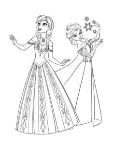 Эльза и Анна со снежинками