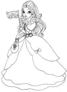Девушка в свадебном платье с маской