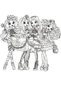 Девочки Эвер Афтер Хай раскраска для ребенка
