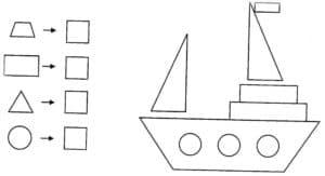 корабль из геометрических фигур