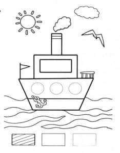 корабль и чайка раскраска