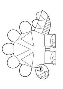 динозавр из геометрических фигур