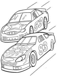 машины на гонках раскраска