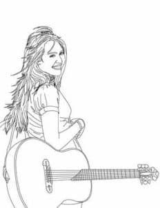 Ханна Монтана с гитарой раскраска