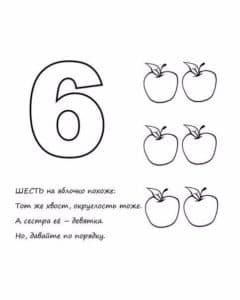 изучаем цифру шесть