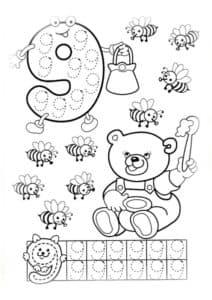 девять пчел детская раскраска