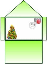 зеленый конверт с елкой