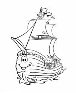 Веселый корабль с глазами и ртом