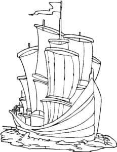 Деревянный корабль с парусами раскраска для ребенка