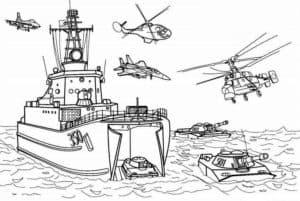 Военный корабль с вертолетами раскраска