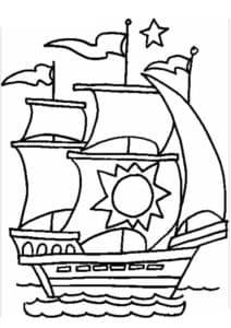 Корабль с солнцем на парусе