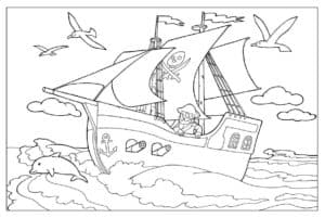 Пиратский корабль и чайки