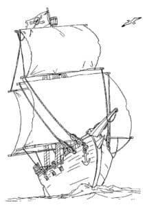 Большой корабль с парусами и якорем