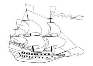 Корабль с развивающимся флагом
