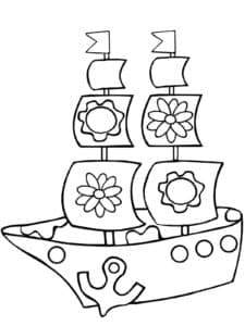 Корабль с цветочками на парусах