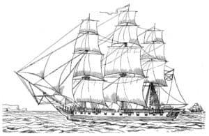 Большой парусный корабль в океане