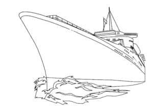 Большой корабль прорезает волны