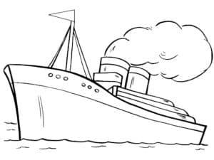 Большой корабль с которого идет дым