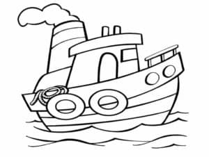 Маленький кораблик с спасательными кругами и веревкой