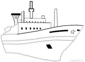 Большой корабль раскраска по точкам
