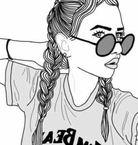 крутая девочка в очках раскраска