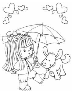 девочка с зонтом и собачкой