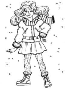 модель в зимнем костюме
