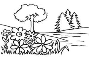 цветы и дерево