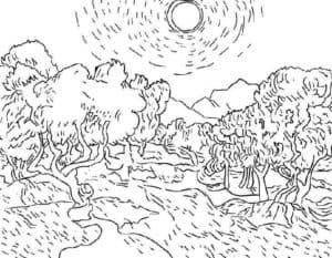 Деревья и солнце раскраска детская